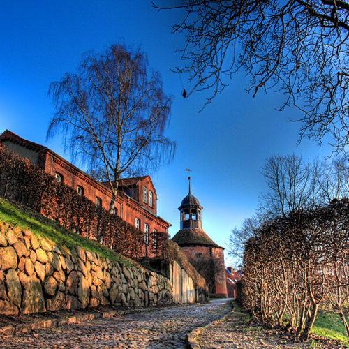 Blick auf den Schlossturm von Lauenburg