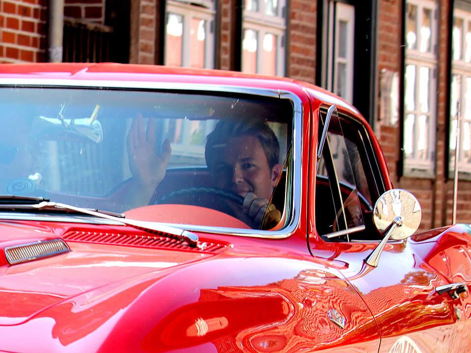 Nico Rosberg in einer Corvette - Hamburg-Berlin-Klassik durch Lauenburg