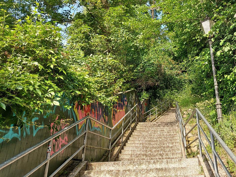 131 Stufen die Fährtreppe hinauf