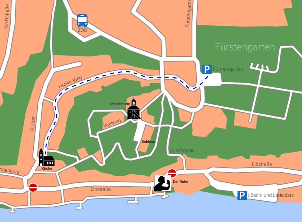 Karte für Weg vom Fürstengarten zur Kirche