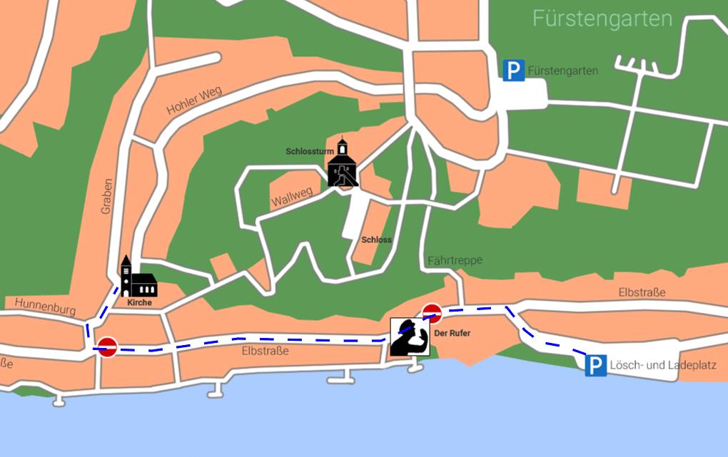 Karte für den Weg vom Parkplatz zur Kirche