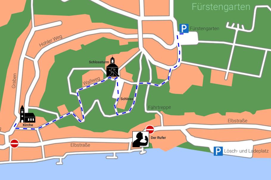 Karte für den Weg vom Fürstengarten zur Kirche